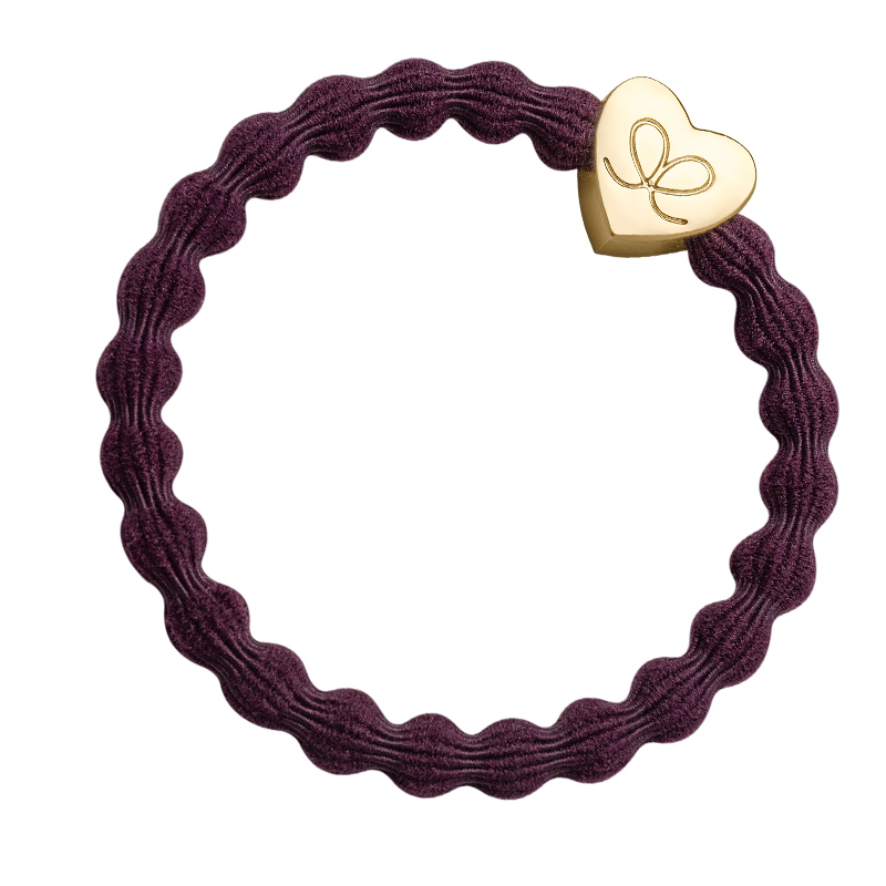 Bangle bands gold heart plum hairband - fashionable hair bands from byEloise London.