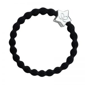 A silver star charm ona black hairband, part of a huge range of fashionable hair bands from byEloise London.
