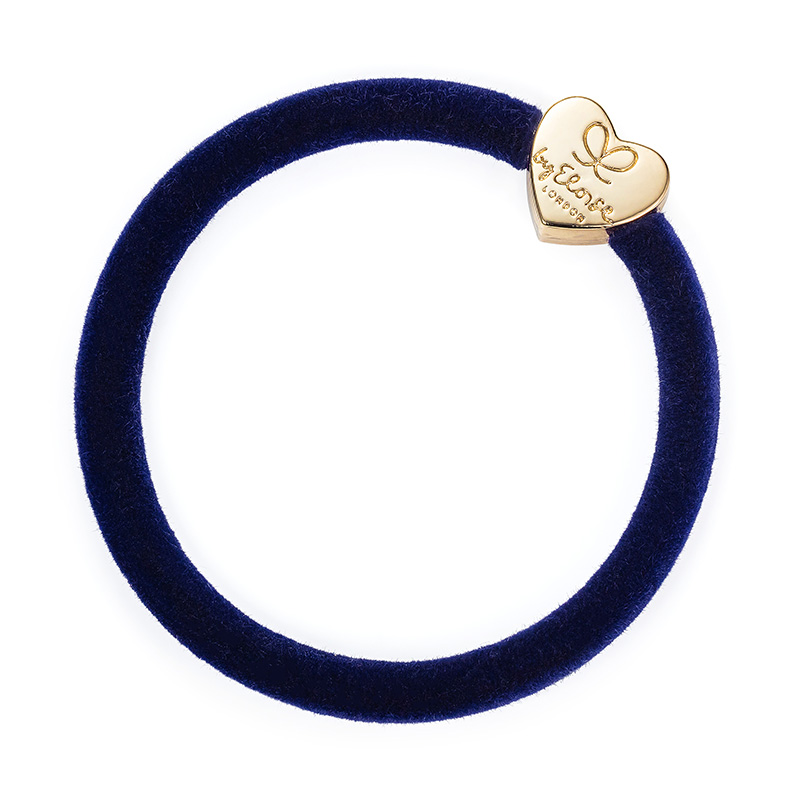 Navy Velvet Gold Heart