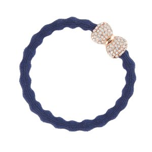 Navy Blue Diamantee Bow ByEloise