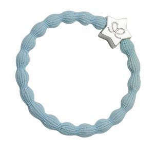 A Silver Star charm on a sky blue hairband, only one of the fashionable hair bands at byEloise.