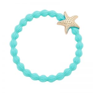 A starfish charm on a turquoise elastic hair band, part of the byEloise Bangle Band product range.