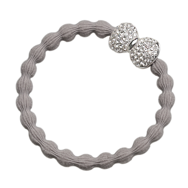 Cloudy Grey Diamanté Bow byEloise