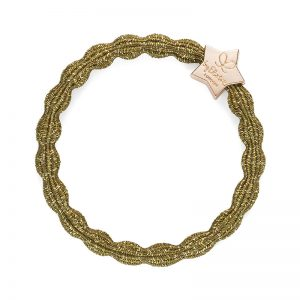 byEloise bangle band hair accessories selection: metallic gold star charm on an olive hair band.