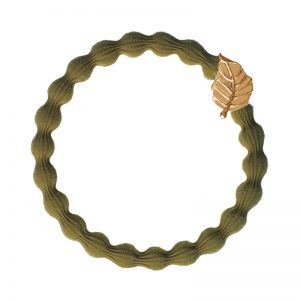 The gold leaf charm on a camel hair band, one of the chic hair accessories at byEloise London bangle bands.
