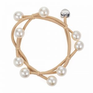 Pearl cluster charms on a tan sand coloured bangle band - byEloise London hair accessories.