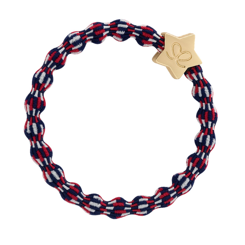 Gold star charms on red, white and blue hairbands, part of the byEloise Bangle Bands collection.