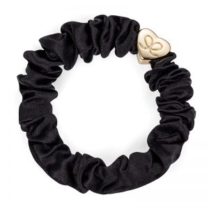 Silk Scrunchie Gold Heart Black ByEloise