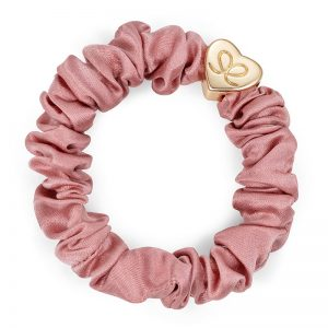 Silk Scrunchie Gold Heart Champagne Pink ByEloise