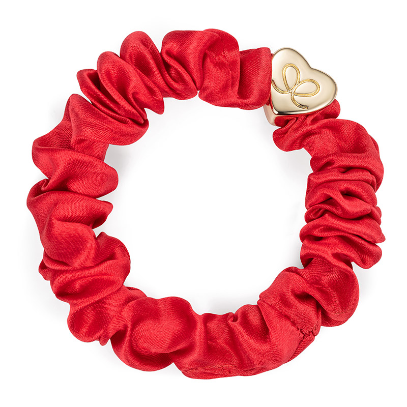 Silk Scrunchie Gold Heart Cherry Red ByEloise