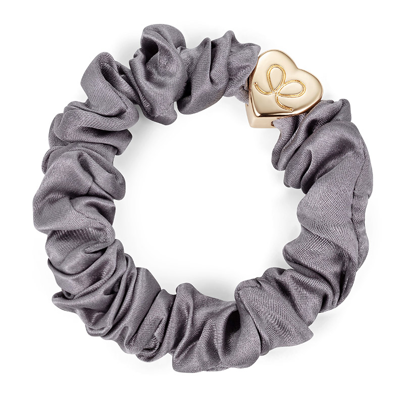 Silk Scrunchie Gold Heart Grey ByEloise
