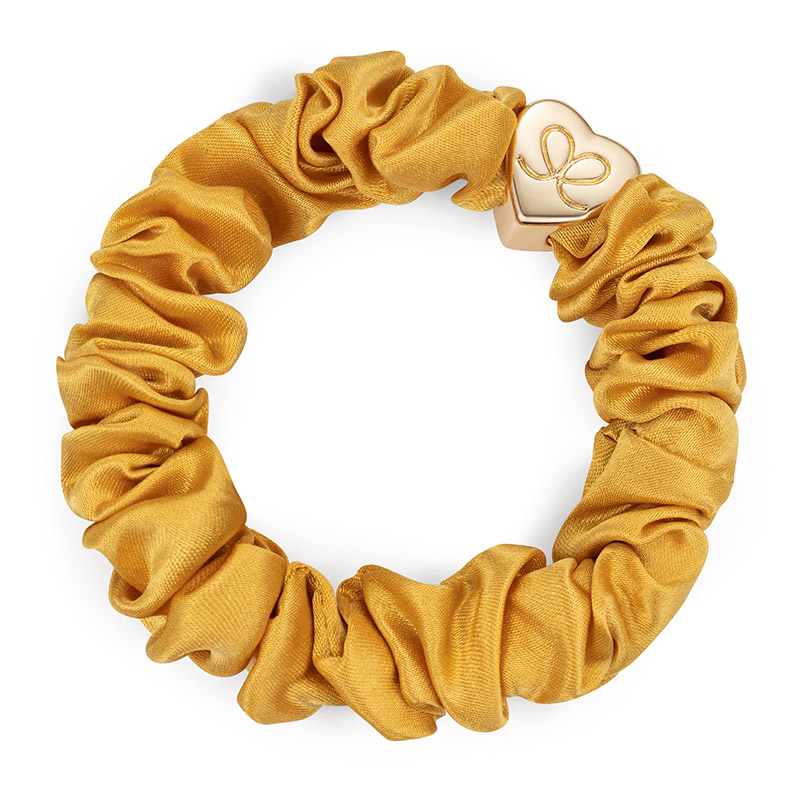 Silk Scrunchie Gold Heart Mustard ByEloise
