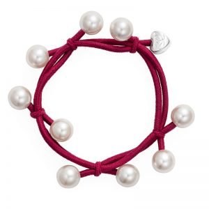Pearl Cluster Burgundy hair band bracelet, just one of the fashionable hair accessories from byEloise.