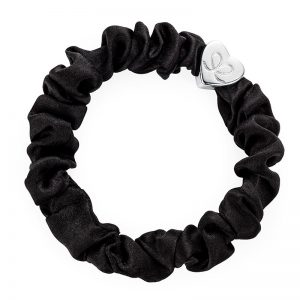 Silver Heart Black Scrunchie ByEloise