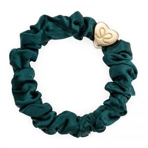 Chive Green Gold Heart Silk Scrunchie ByEloise