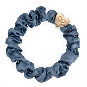 Faded Denim Gold Heart Silk Scrunchie ByEloise