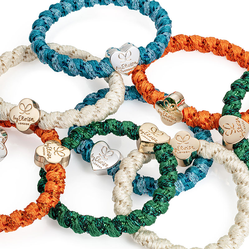 A selection of byEloise London woven bangle bands, the fashionable hairband that is also a chic charm bracelet.