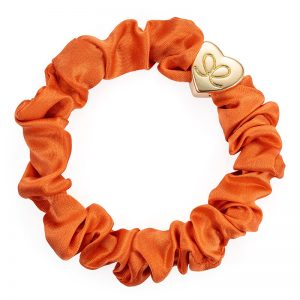 Orange Peel Gold Heart Silk Scrunchie ByEloise