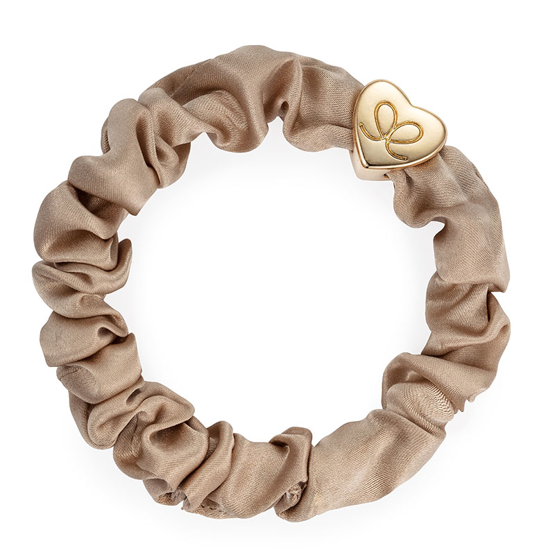 Sand Gold Heart Silk Scrunchie ByEloise