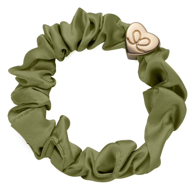Silk Scrunchie Gold Heart Olive Green ByEloise