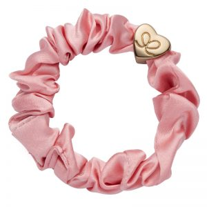 Silk Scrunchie Gold Heart Rose Tan ByEloise