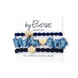 Denim days set of byEloise bangle bands hair accessories with gold charms.