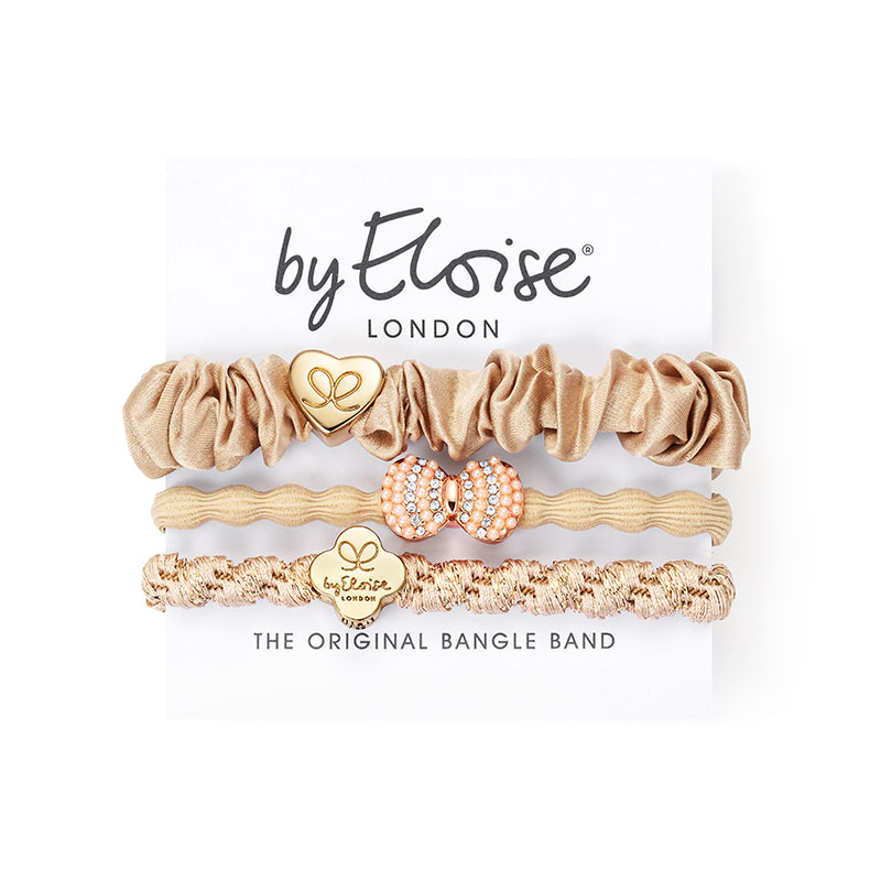 Sandy lane set of byEloise bangle bands, hairband bracelets with gold and glittery charms.