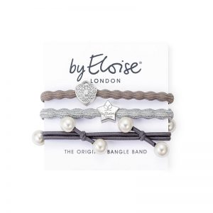 Shades of grey set of byEloise bangle bands hair accessories with silver and pearl charms.