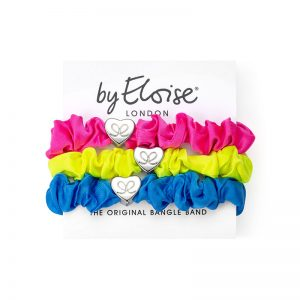 Bright side set of byEloise silk scrunchie bangle bands, hair accessory bracelets with silver charms.