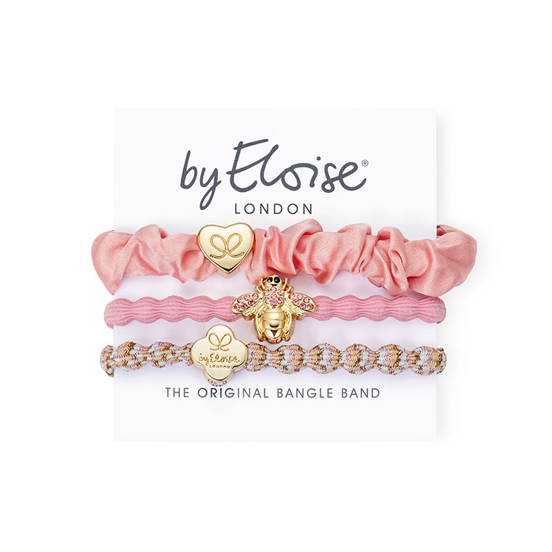Think Pink set of byEloise bangle bands, bracelet hair accessories with gold charms.