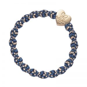 Metallic byEloise gold heart charm on a blueberry blue coloured hairband bangle against a white background.