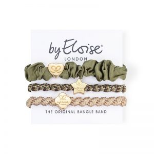 Classic camo set of byEloise bangle bands hair accessories on a branded white card.