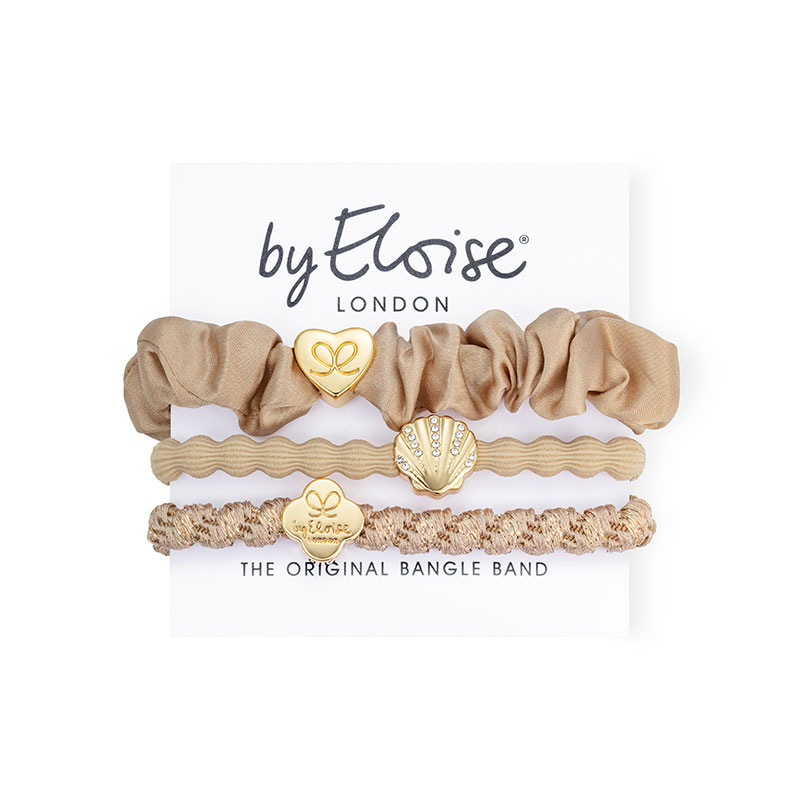 Sandy beaches set of byEloise bangle bands hair accessories on a branded white card.