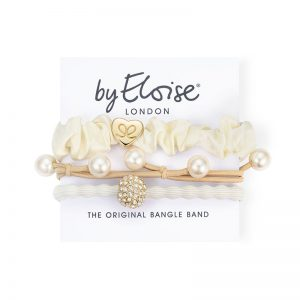 White party set of byEloise London silk scrunchie Bangle Bands on a branded white card.