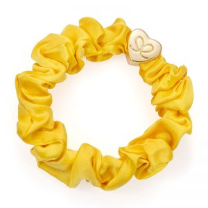 Gold Heart Silk Scrunchie Mellow Yellow Bangle Bands, fashionable hairband bracelets from byEloise.